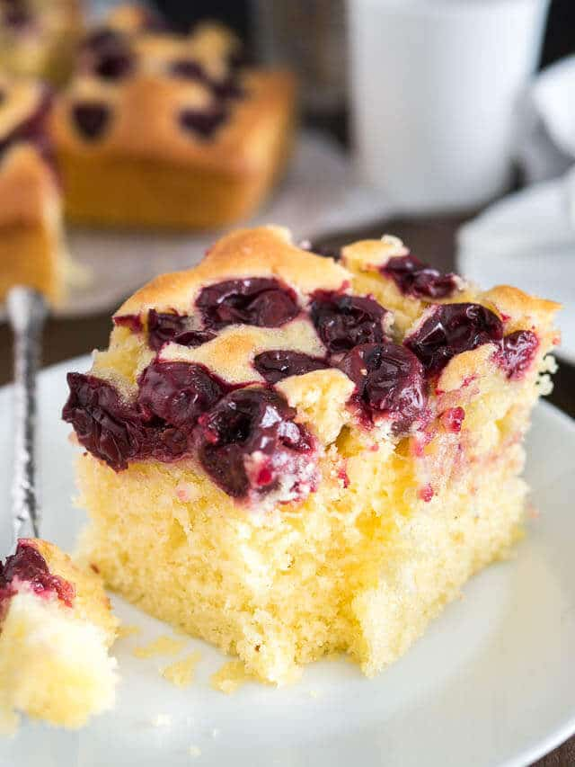 This easy cherry snack cake is only 10 minutes to the oven! The homemade cake recipe has either dark sweet or sour cherries.