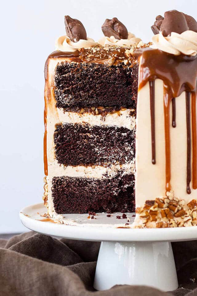 Three layered chocolate cake with caramel buttercream