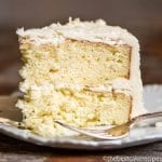 Homemade coconut layer cake with coconut buttercream