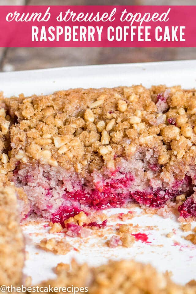 Use fresh or frozen raspberries in this extra moist Raspberry Coffee Cake with nut streusel topping. Makes a small 8x8 cake and is delicious with a cup of coffee.