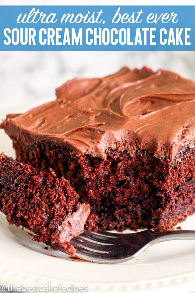 The ultimate in moist chocolate cakes, this Sour Cream Chocolate Cake is a great take-along dessert for picnics and potlucks. Top with sour cream frosting for a delicious chocolate dessert.
