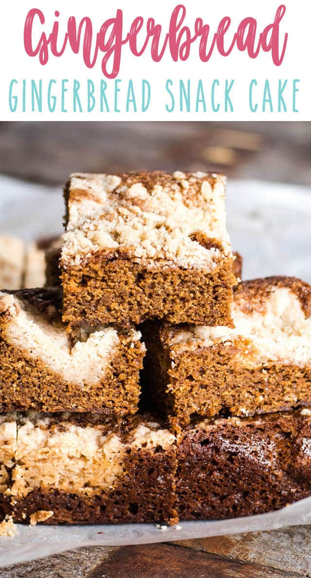 Only 10 minutes of prep time and this easy Gingerbread Snack Cake is in the oven. Make a streusel to use in the cake  and then sprinkle the rest on top for a sugary crust!