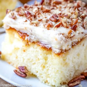 white cake with pineapple pecan topping