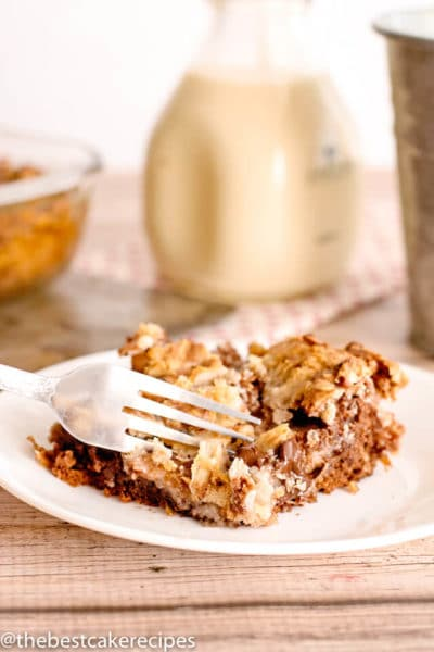 german chocolate earthquake cake with milk