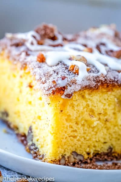 fluffy yellow coffee cake with streusel