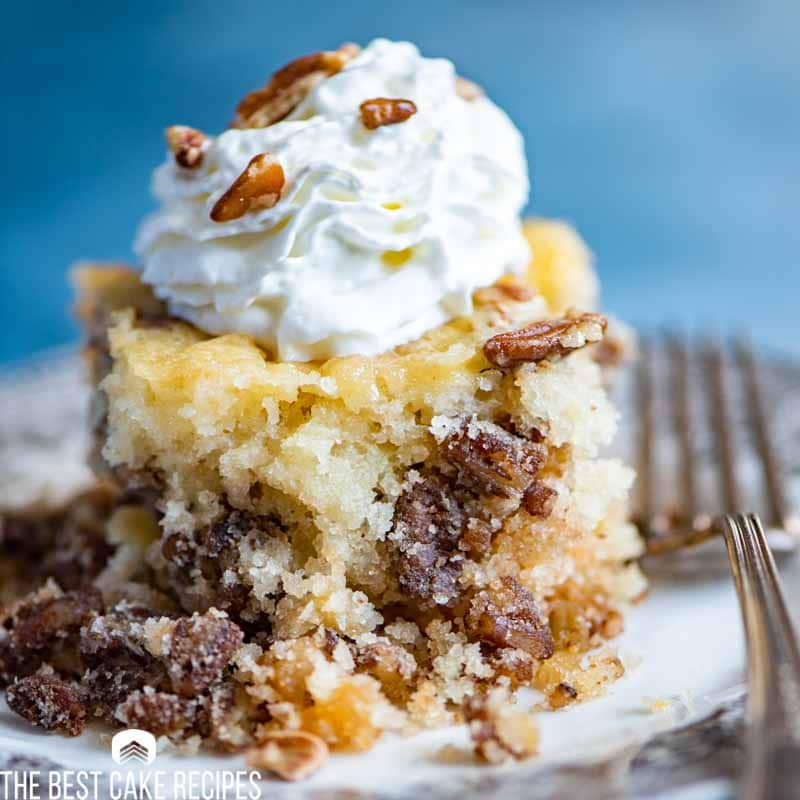 Pecan Pie Cake Recipe With Sugary Nut Topping And Ice Cream